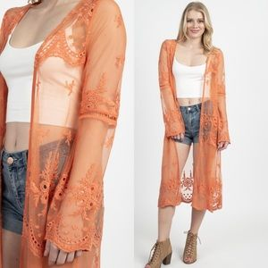 Peach coral long duster lace kimono jacket